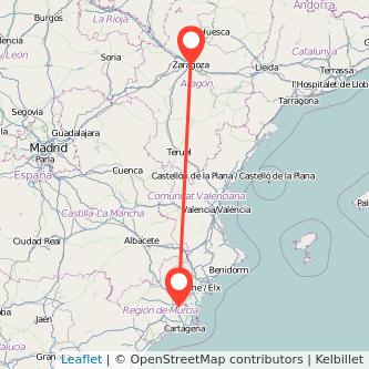 Mapa del viaje Zaragoza Murcia en tren