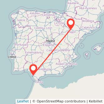 Mapa del viaje Zaragoza Jerez de la Frontera en tren