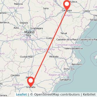 Mapa del viaje Zaragoza Granada en bus