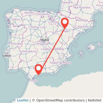 Mapa del viaje Zaragoza Fuengirola en bus