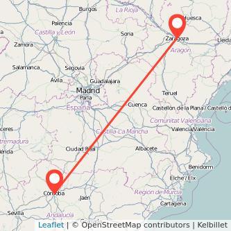 Mapa del viaje Zaragoza Córdoba en bus