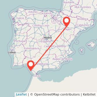Mapa del viaje Zaragoza Cádiz en tren