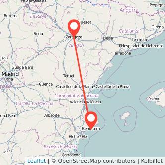 Mapa del viaje Zaragoza Benidorm en bus