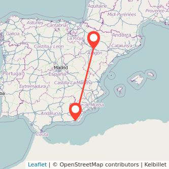Mapa del viaje Zaragoza Almería en bus