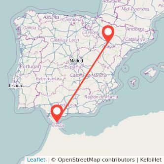 Mapa del viaje Zaragoza Algeciras en bus