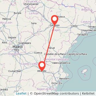 Mapa del viaje Zaragoza Albacete en bus
