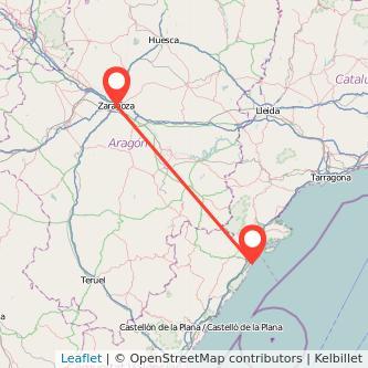 Mapa del viaje Zaragoza Vinaròs en bus