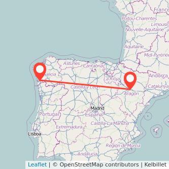 Mapa del viaje Zaragoza Vigo en bus