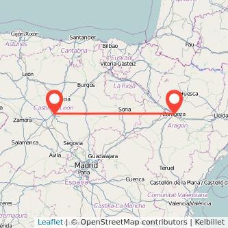 Mapa del viaje Zaragoza Valladolid en bus