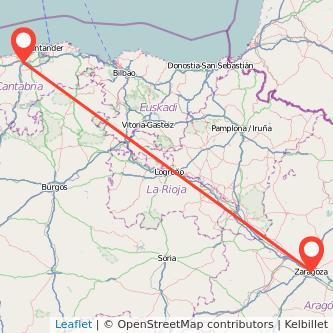 Mapa del viaje Zaragoza Torrelavega en bus