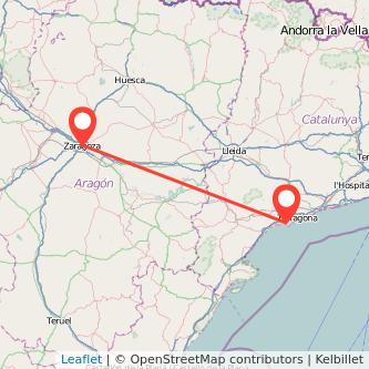 Mapa del viaje Zaragoza Salou - Port Aventura en tren