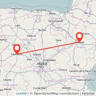 Mapa del viaje Zaragoza Salamanca en bus