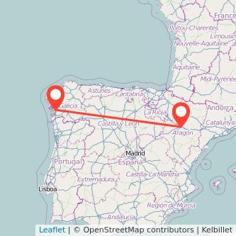 Mapa del viaje Zaragoza Pontevedra en bus