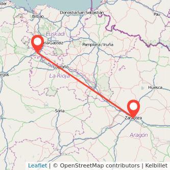 Mapa del viaje Zaragoza Miranda de Ebro en bus