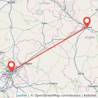 Mapa del viaje Zaragoza Madrid en bus