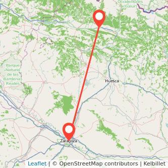 Mapa del viaje Zaragoza Jaca en bus