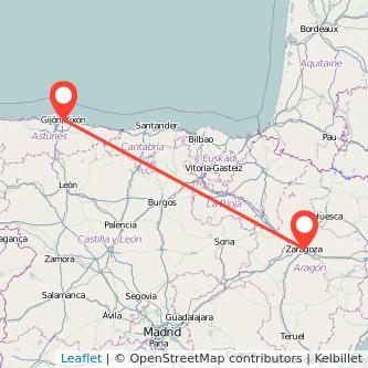 Mapa del viaje Zaragoza Gijón en tren