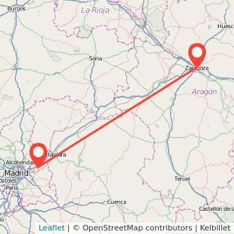 Mapa del viaje Zaragoza Alcalá de Henares en tren