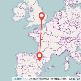 Mapa del viaje Zaragoza Londres en bus