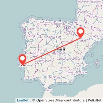 Mapa del viaje Zaragoza Lisboa en bus