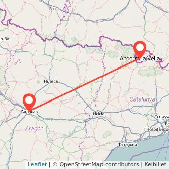 Mapa del viaje Zaragoza Andorra en bus