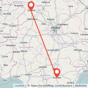 Mapa del viaje Zamora Granada en bus