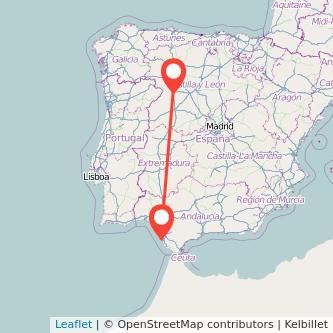 Mapa del viaje Zamora Cádiz en tren