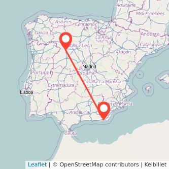Mapa del viaje Zamora Almería en bus