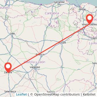 Mapa del viaje Zamora Vitoria-Gasteiz en bus