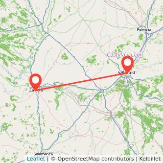 Mapa del viaje Zamora Valladolid en tren