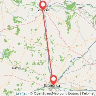 Mapa del viaje Zamora Salamanca en bus