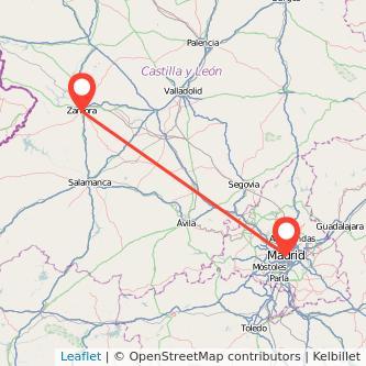 Mapa del viaje Zamora Madrid en bus