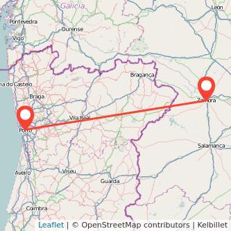 Mapa del viaje Zamora Oporto en bus