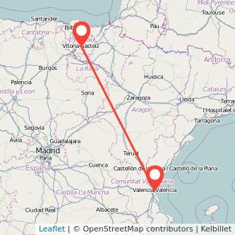 Mapa del viaje Vitoria-Gasteiz Valencia en bus