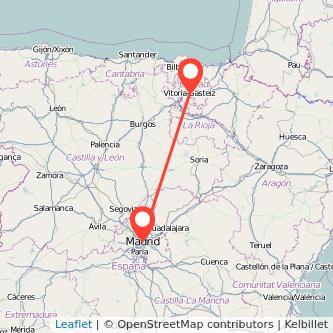 Mapa del viaje Vitoria-Gasteiz Madrid en tren