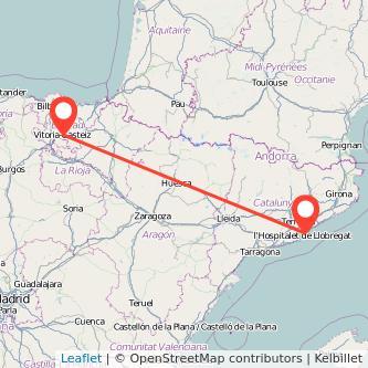 Mapa del viaje Vitoria-Gasteiz Barcelona en bus