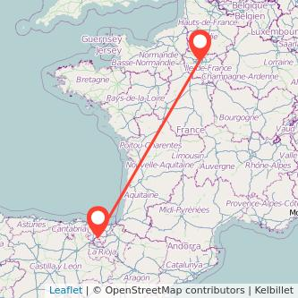 Mapa del viaje Vitoria-Gasteiz París en tren