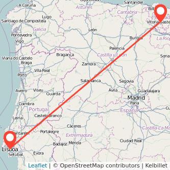 Mapa del viaje Vitoria-Gasteiz Lisboa en tren