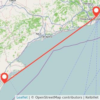 Mapa del viaje Vinaròs Barcelona en bus