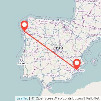 Mapa del viaje Vigo Murcia en bus
