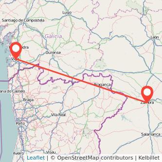 Mapa del viaje Vigo Zamora en bus