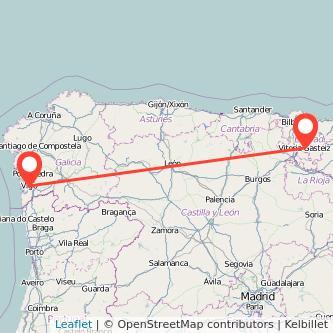 Mapa del viaje Vigo Vitoria-Gasteiz en bus