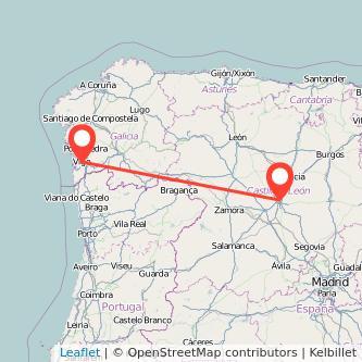 Mapa del viaje Vigo Valladolid en bus