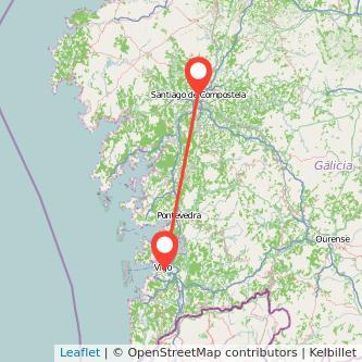 Mapa del viaje Vigo Santiago de Compostela en bus