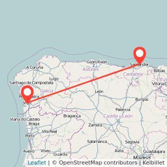 Mapa del viaje Vigo Santander en bus