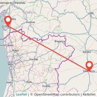 Mapa del viaje Vigo Salamanca en bus