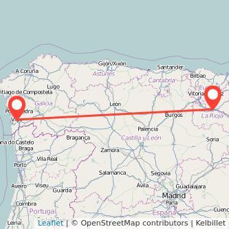 Mapa del viaje Vigo Logroño en bus