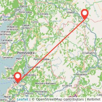 Mapa del viaje Vigo Lalín en bus