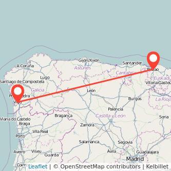 Mapa del viaje Vigo Bilbao en tren