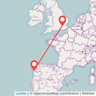 Mapa del viaje Vigo Londres en bus